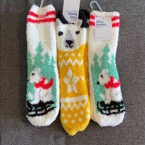 NWT Three Pairs Fuzzy Socks